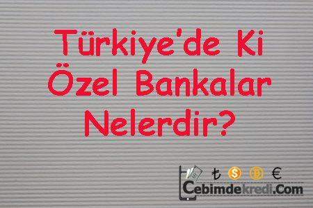 Türkiye'de Ki Özel Bankalar Nelerdir?